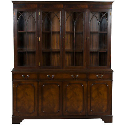 Vintage Antique Style Cathedral Gothic Arch Mahogany Breakfront Bookcase Cabinet