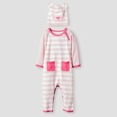 NEW Baby Girls' Organic Sweater Romper and Hat Set Cat & Jack  - Pink
