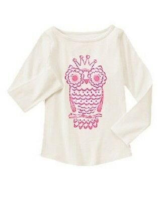 NWT Gymboree Girls Fairytale Forest White Pink Owl Top Size 4