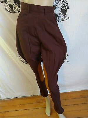 Western Riding pant jodhpur Breeches S  Dk brown Suede on legs womens Steampunk