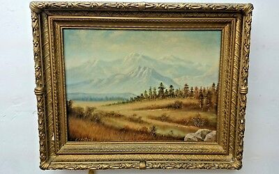 C.A. HOLLAND Painting Oil on Board Estes Park Colorado LANDSCAPE Antique Gesso