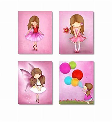 Kids Bedroom Wall Poster for Girls Room Artwork Pictures Pink Nursery Decoration