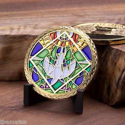 """Baptized Baptism God Christ 1.75"""" Stained Glass  Challenge Coin"""