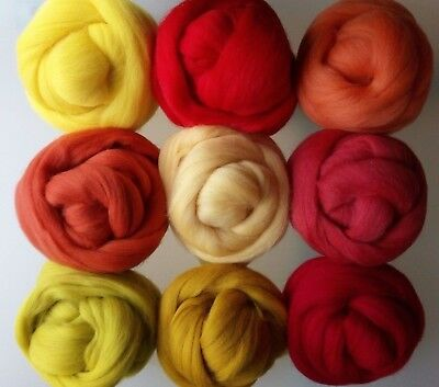 Warm Colour Family* Merino Wool Tops for Felting, Yellow Orange Red 10 - 200 g
