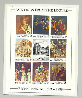 Gambia #1353 Art, Paintings from the Louvre 1v M/S of 8 Imperf Chromalin Proof