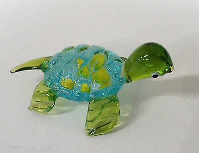 z GLASS FIGURINE turtle blown art glitter BLUE YELLOW animal handmade ganz