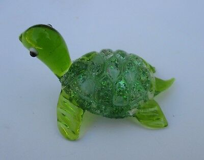 z Green GLASS FIGURINE turtle blown art glitter animal handmade ganz
