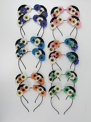 Wholesale Headbands 12 Floral Flower Headband Mouse Ears Party Favors  #2776