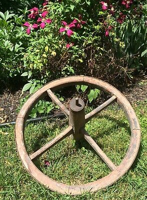 Antique Wooden Wood & Iron Band Wheelbarrow Wagon Wheel Primitive Garden