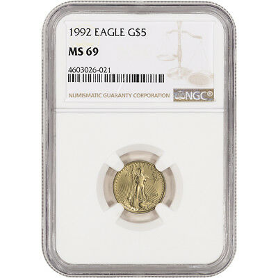 1992 American Gold Eagle 1/10 oz $5 - NGC MS69