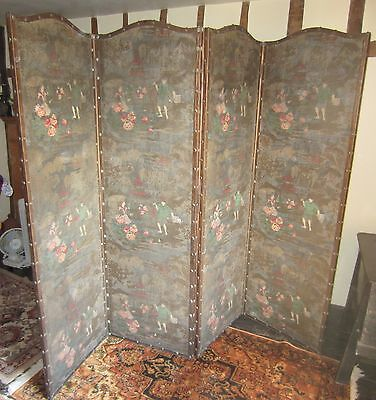 Antique Decorated Four Panel Folding Screen (see details)