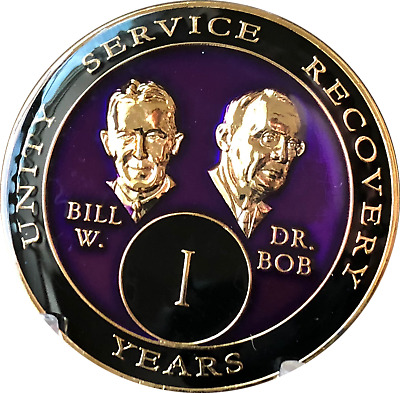 1 Year AA Founders Purple Tri-Plate Medallion Bill & Bob Sobriety Chip One