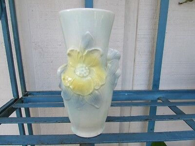 Vintage Royal Copley Carol's Corsage Vase BlueGreen w/Yellow Flowers