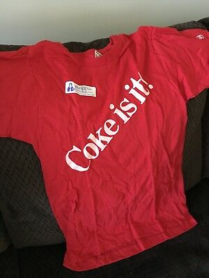 Coke is it! vintage bright red Daffy Dan t-shirt, size S, circa 1970, never worn