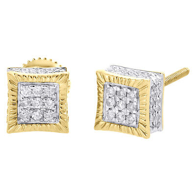 10K Yellow Gold Real Diamond 3D Square Cube Fluted Studs 6.75mm Earrings 1/3 CT.