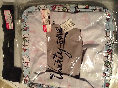 New~Thirty-One SQUARE UTILITY TOTE/LID~Snow Man/Daze~Organizer~Black Top-A-Tote