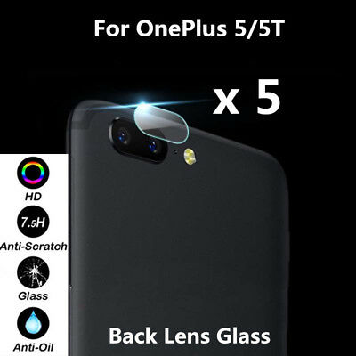 5Pcs HD Back Camera Lens Tempered Glass Protector Shield Film For OnePlus 5 / 5T