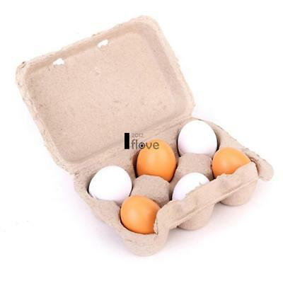 6x Wooden Eggs Yolk Pretend Play Kitchen Food Cooking Kids Children Baby ILOE