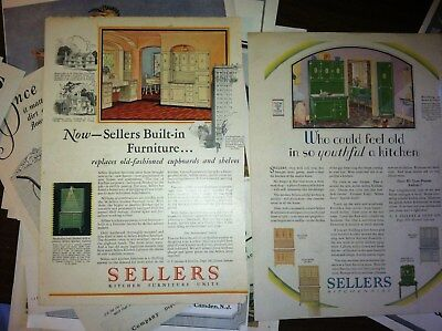"2 SELLERS HOOSIER CABINET S 10x8"" size MAGAZINE 1920s in COLOR"