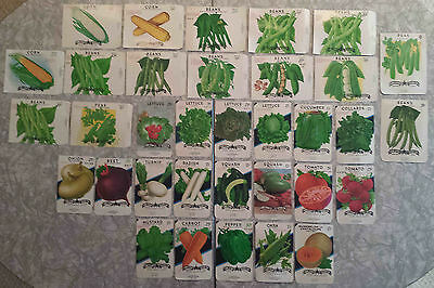 34 Different Old Vegetable Seed Packets         Unused        Great For Framing