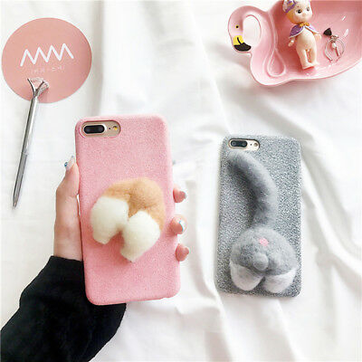 Welsh Corgi Dog Cute Pet Dog Cat Ass Fuzzy Soft Phone Case For iphone 7 8 Plus