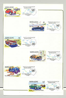 Sierra Leone #625-631 Automobiles, Maps, UN 6v & 1v S/S Imperf Proofs on 2 Cards