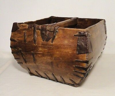 Antique Primitive Chinese Wood Rice Bucket Basket Hand Dovetailed Early Nails