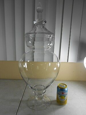 """Antique 23"""" Glass Pharmacy Apothecary Jar Drug Store Counter Display & 5"""" Finial"""