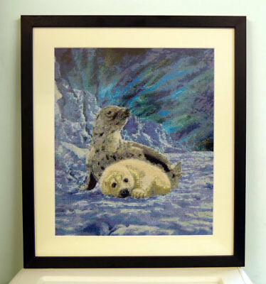 Baby Harp Seals Finished Cross Stitch Piece Framed