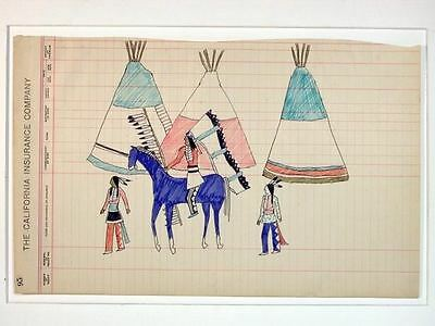 Ledger Drawing Tom Two Arrows 1980s Braves Horse