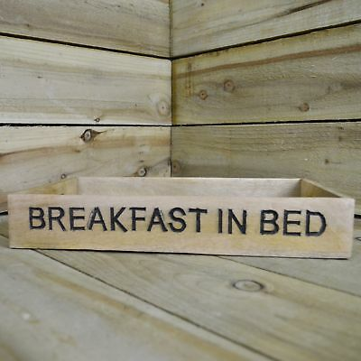 42cm Wooden Breakfast in Bed Serving Tray with Handles and Engraved Writing
