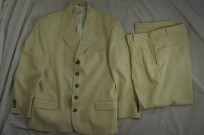 Vtg 70s Falcone 1950s Style 2 Pc Suit Hollyood Jacket Pants Yellow Gab Mod Rare