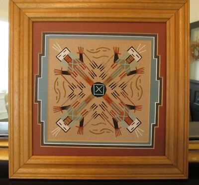 ESTATE Native American Navajo Yei Religious Sand Painting Signed F.H.  SP2