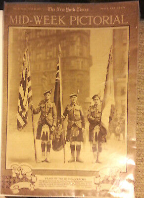1917 NY TIMES Mid-Week Pictorial Magazine- Flags of 3 Democracies- WW1 Photos