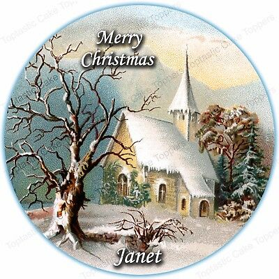 Personalised Vintage Christmas Snow Church Round Edible Icing Party Cake Topper