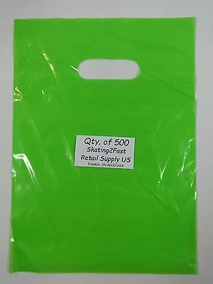500 Qty. 9 x 12 Lime Green Glossy Low Density Merchandise Bags Retail Shopping