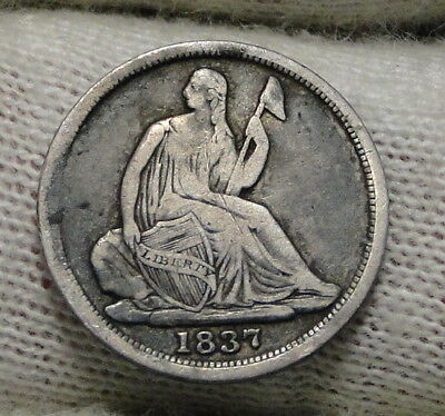 1837 Seated Liberty Half Dime H10C No Drapery - Nice Coin, Free Shipping (6527)