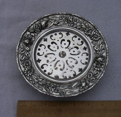 Kirk Sterling REPOUSSE Pattern OPEN BUTTER DISH w/GRILLE-925/1000 Mark #50