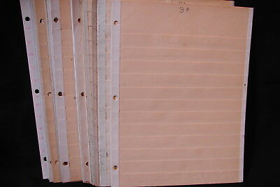Lot of 25 Vintage Stamp Stock Pages 12 Row Manila All Used w/ Writing