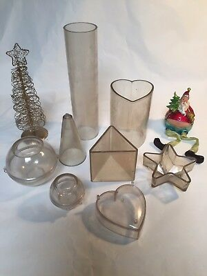 Plastic Candle/Soap Mould Bundle - 8 pieces balls, heart, triangle, cylinder,