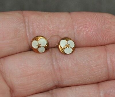 """Pair Tiny Antique Brass Buttons 3/8"""" Great Size for Doll Clothes"""