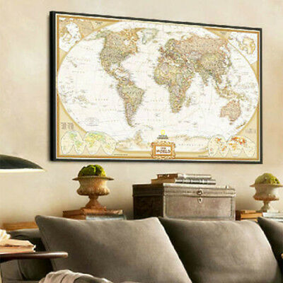New Home Bar Cafe Vintage Retro Paper World Map Poster Wall Decor English Map CY