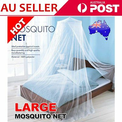 Elegant Lace Queen Bed Mosquito Netting Mesh Canopy Princess Round Dome Bedding