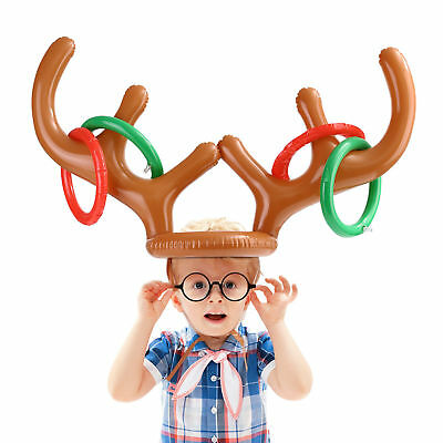 Christmas Toys Inflatable Reindeer Antler Hat Ring Toss Party Kids Game Toy