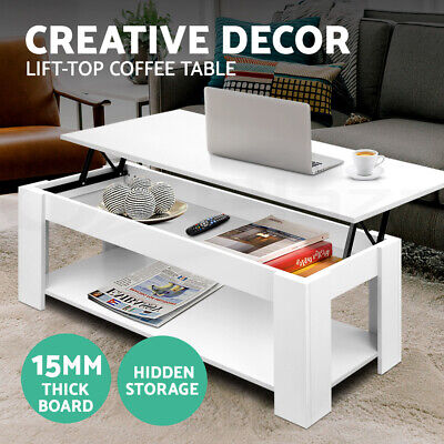 NEW Lift Up Top Coffee Table Mechanical Convertible Tabletop Hidden Storage