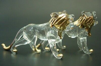 2 Tiny Glass LIONS Clear Glass & Gold Painted Glass Ornaments Glass Animals Gift