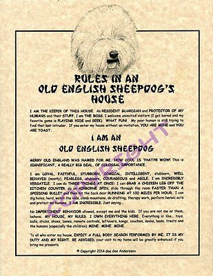 Rules In An Old English Sheepdog's House