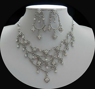 Vintage Bridal Necklace & Earrings Set Wedding Jewelry Clear Crystals N3058
