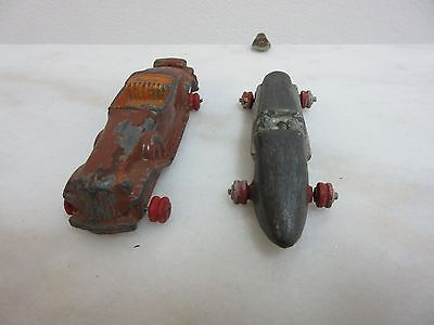 Rare Antique Pair of Derby Roadster Dual Drive Diecast  Hubley ? Toy Cars 1930s