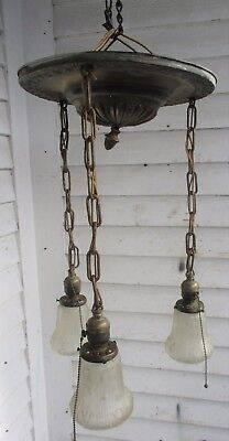 3 Light Vintage Art Deco Hanging Brass Finish Pan Light Chandelier w/ Shades